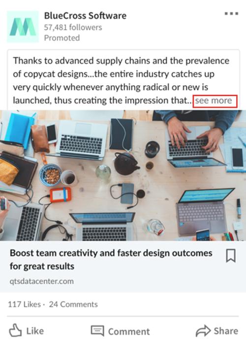 LinkedIn verbetert iets wat eigenlijk al lang had moeten gebeuren: je betaalt als adverteerder niet meer voor mensen die op 'see more' klikken om de volledige tekst te kunnen lezen. (Foto via Social Media Today)
