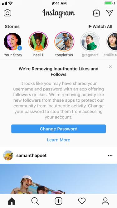 Instagram geeft je een waarschuwingsmelding wanneer ze niet authentieke activiteit op je account gedetecteerd hebben.