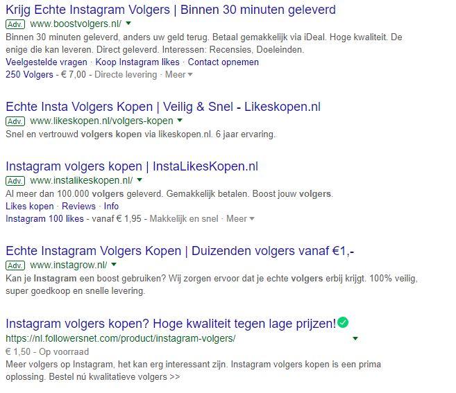 Eén zoekopdracht in Google naar 'Instagram volgers kopen' en je vindt al heel wat tools.