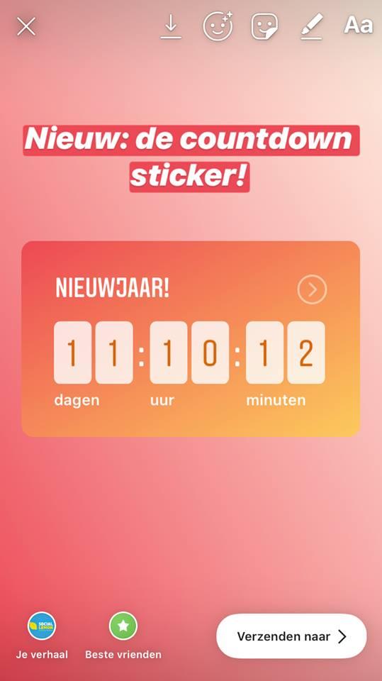 Aftellen naar het nieuwe jaar werd nog wat eenvoudige met de countdown sticker