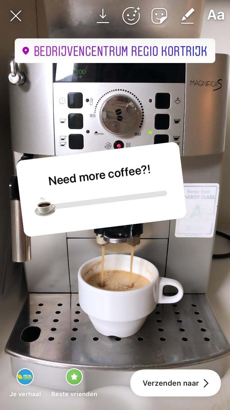 Hoeveel koffie heb jij nodig op maandagochtend? Antwoorden kan met de emoji slider