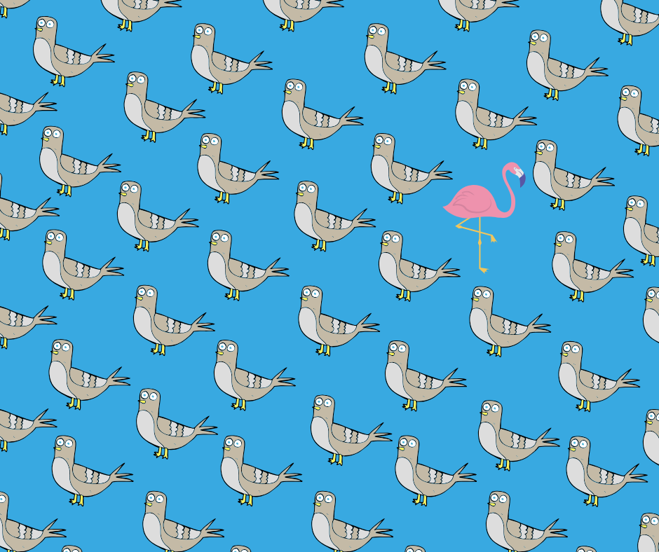 Flamingo in a flock of pigeons.png