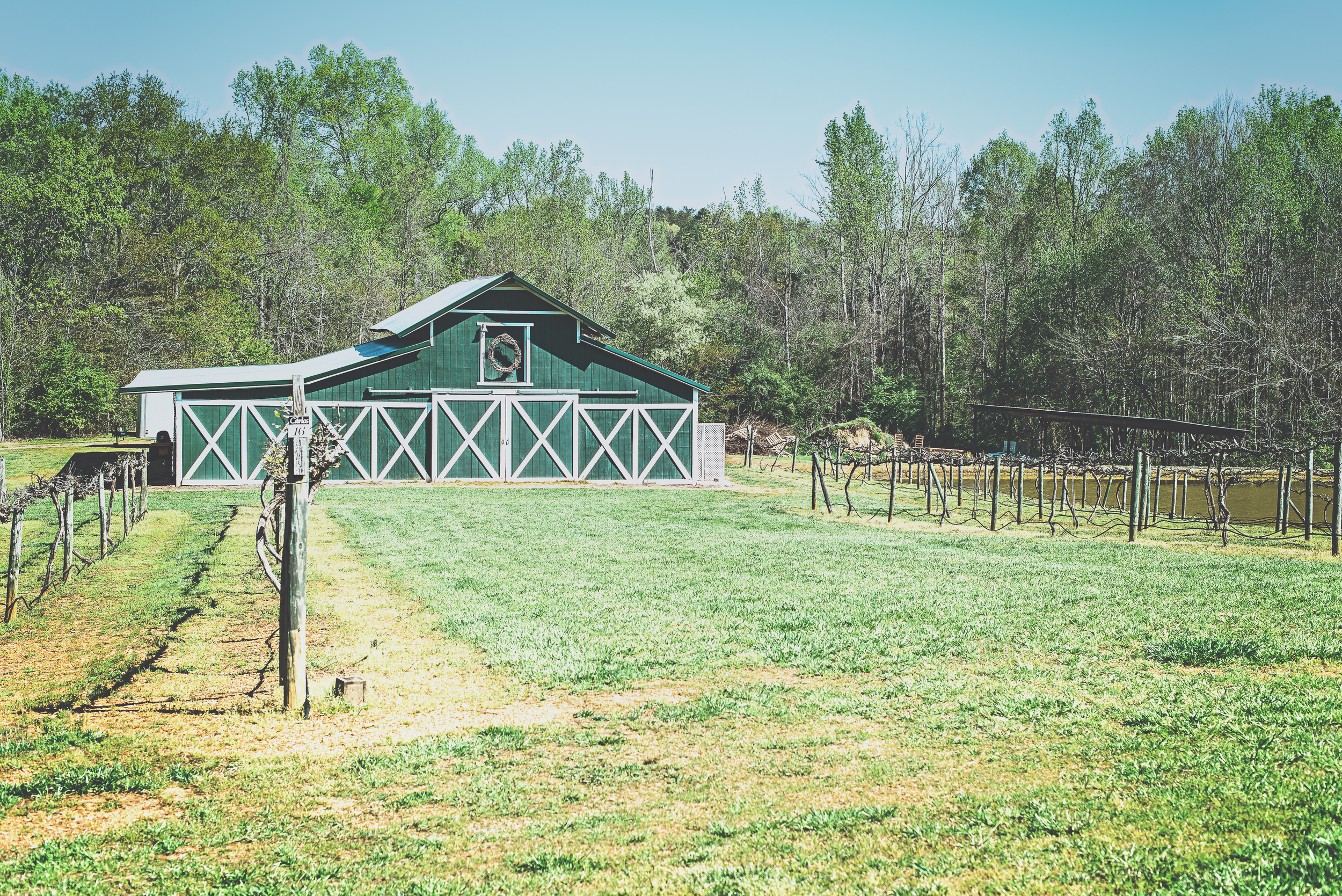 The beautiful barn at Rocky River Vineyards, Midland, NC on April 6, 2016