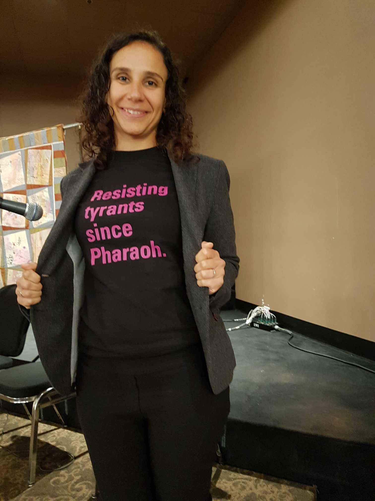 My shirt for Yom Kippur: Resisting Tyrants Since Pharoah. Shirt by and in support of T'ruth: Rabbis for Human Rights