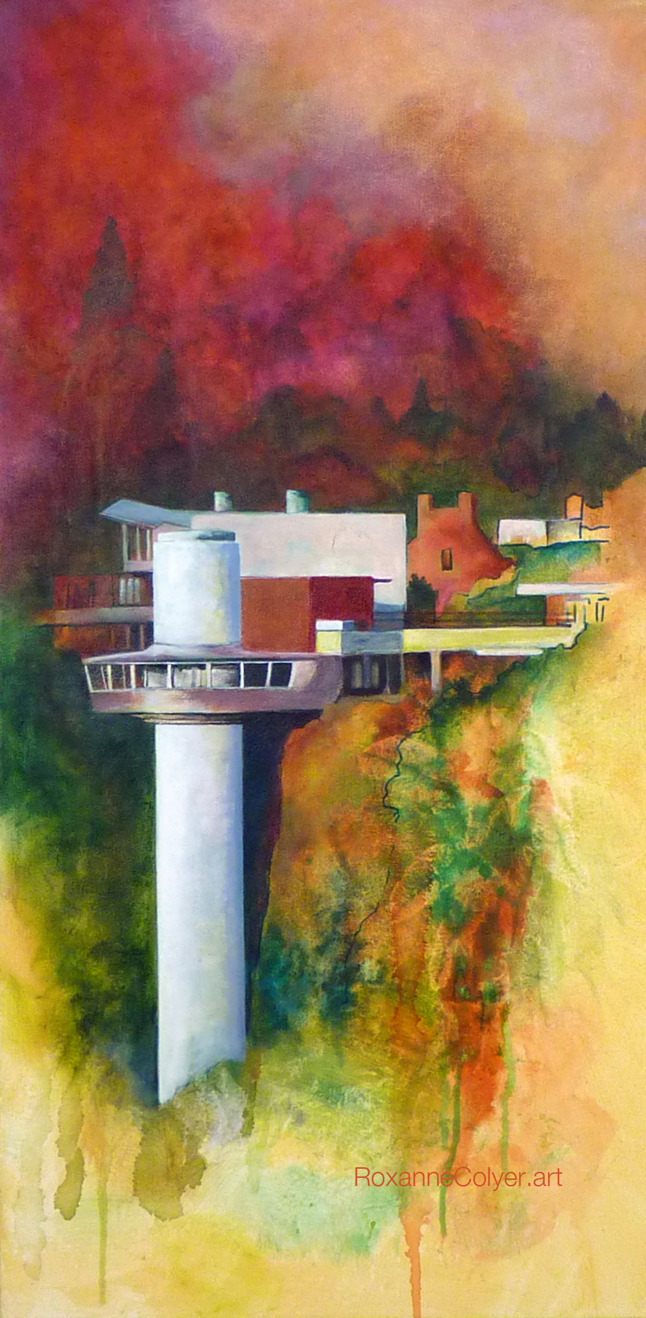"""Working The River:Oregon City Downtown, Elevator No 2, 36 x 18"""" Acrylic"""