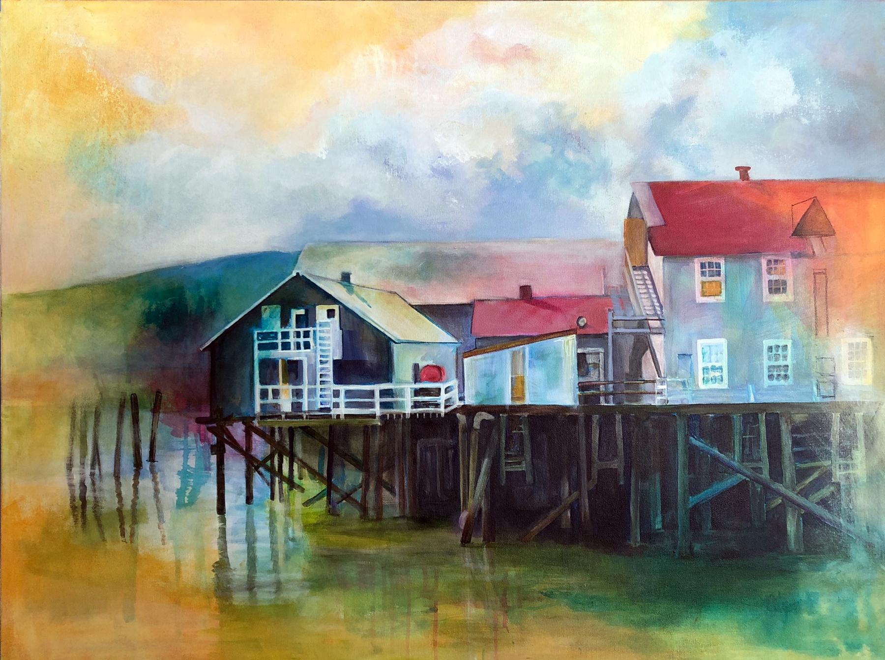 "Working The River: Cordova, Alaska Cannery. Acrylic. 30 x 40."""