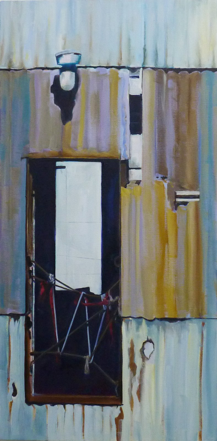 No Exit from Working the RIver series. Oil. 36 x 18""
