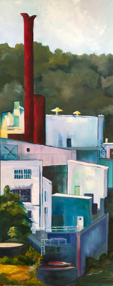 """Stacks, Oil, 40x15.75"""" From Working The River"""