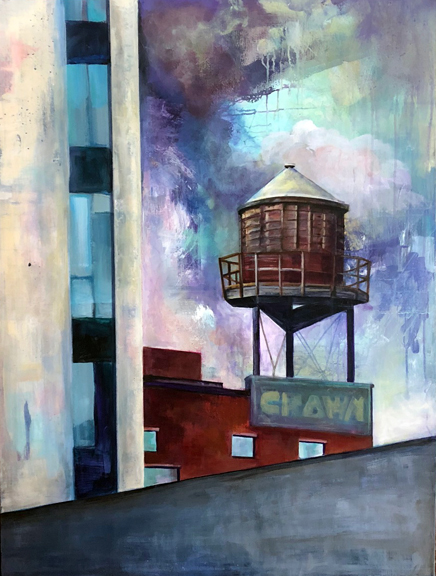 "Crown Water Tower, Portland, Oregon. Acrylic. 40x30"""