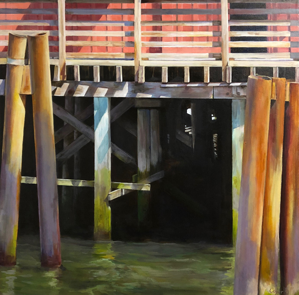 Working The River. Pier 14, Pilot House. Astoria, Oregon. Acrylic. 24 x 24""