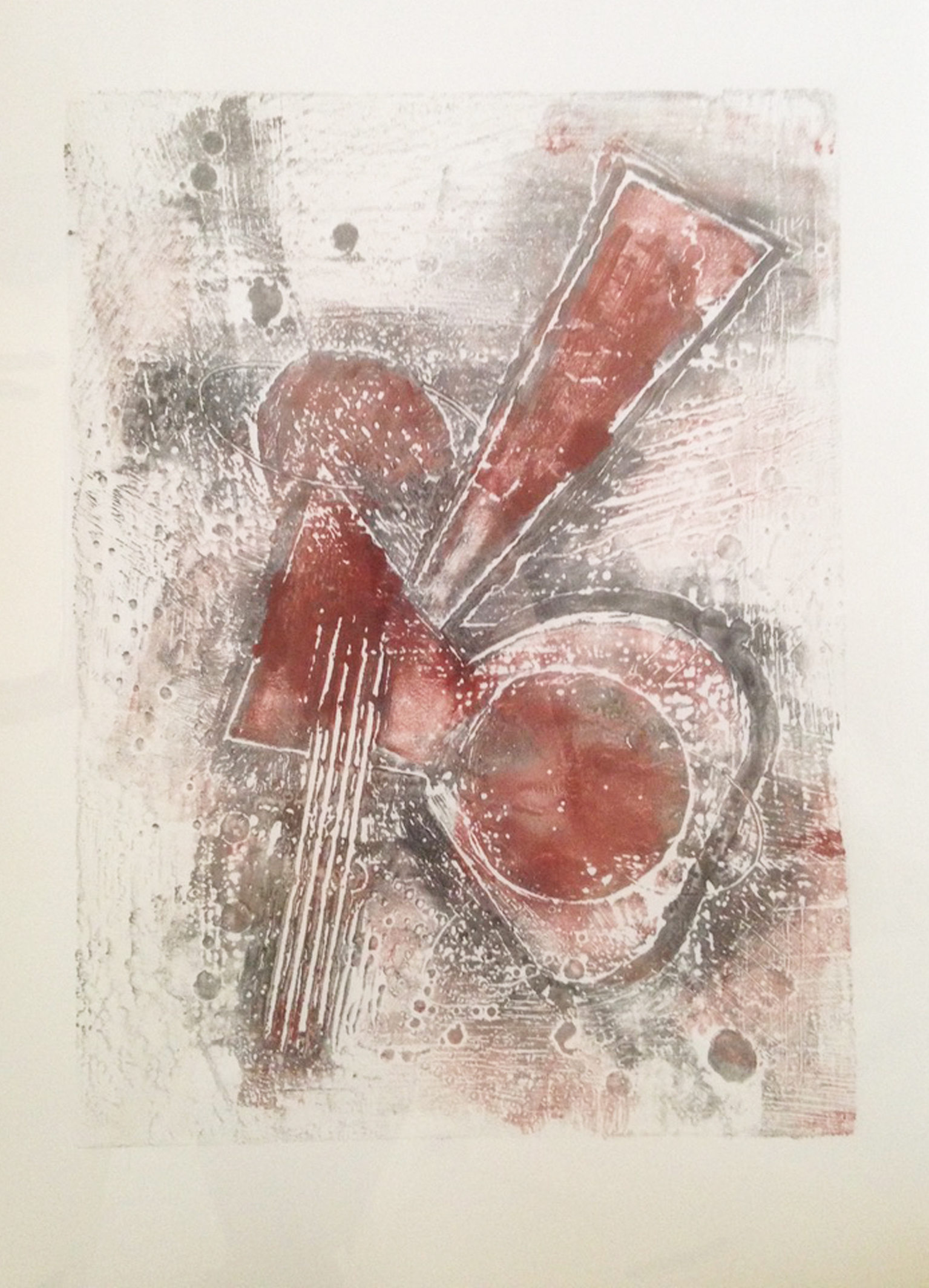 """Collagraph approximately 22x15"""" Cracks me up. Tend to forget the image will be in reverse when I plan a print. A definite signal to practice right-side-really-on-the-left by making more collagraphs.."""