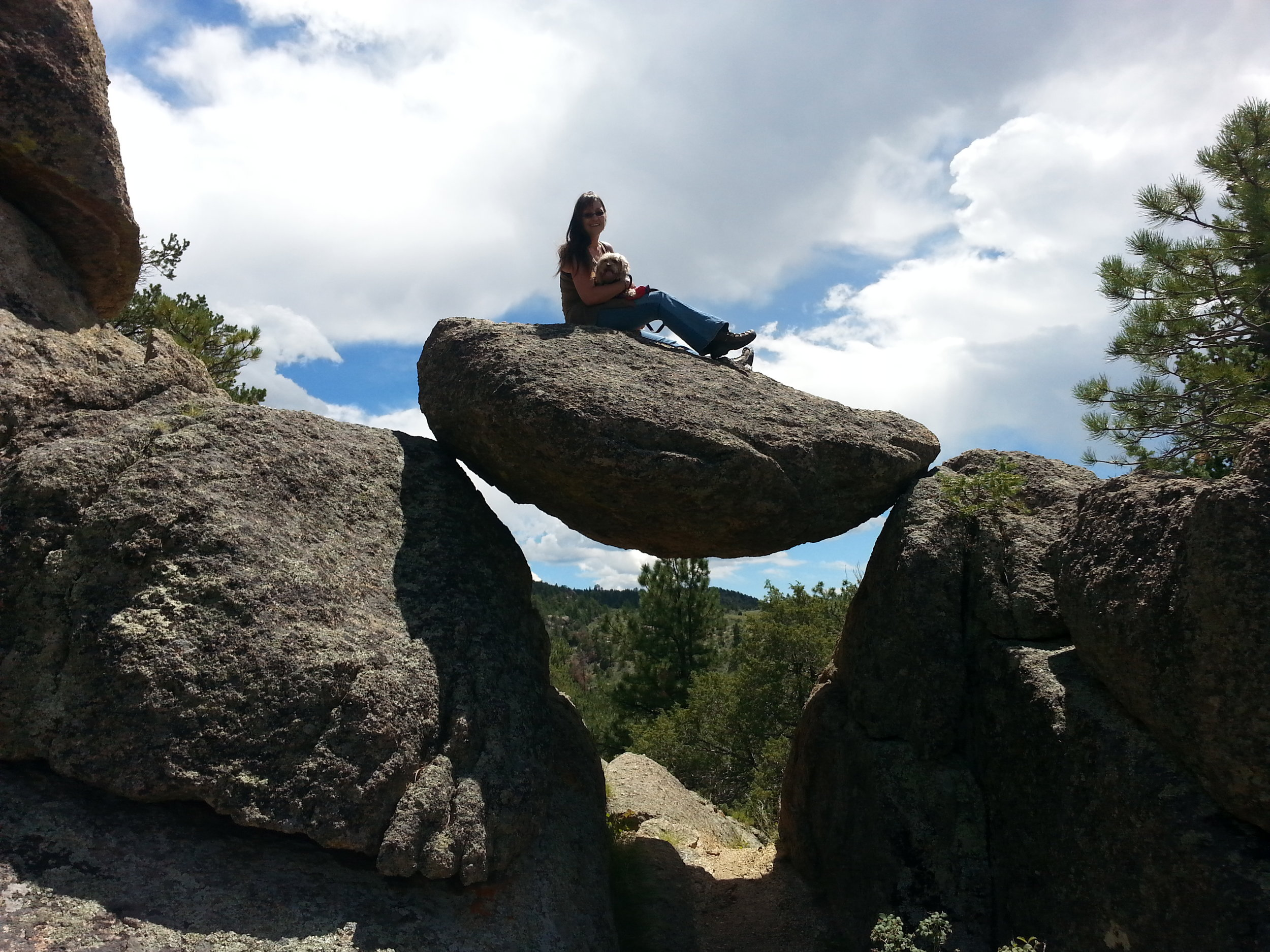 Always up for an adventure, Cindy & Snickle Fritz leave tracks on Swinging Rock in Turret, Colorado.