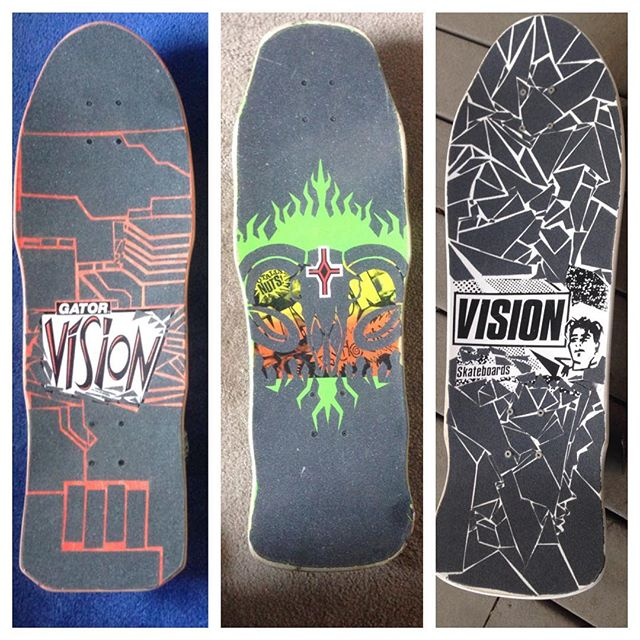 Throwback grip art ive done on some classics #vision #visionskateboards real talk the modern version of vision street wear is wack as fuck, gator is a murderer and not even a cool murderer, and i heard the suits in charge of the original vision brand were so shitty that gonz named blind skateboards as a direct burn on vision... but damn these boards look sick and ride sick