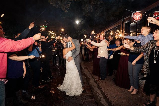 A perfect way to end the night! #wedding #love #romance #marryme #forever #gettinghitched #wichita #ict #kansas #sparklers #nightphotography #weddingplanning