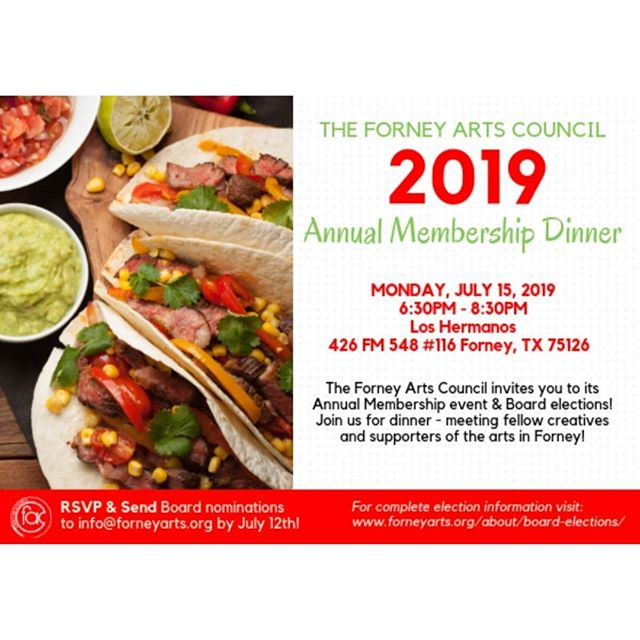 You're invited to dinner! If you're a current member of the Forney arts council, please join us for our annual membership dinner! Come meet fellow artists and art supporters. See photo for details. We'd love to meet you!  #forneytx #forneyarts #artscouncil