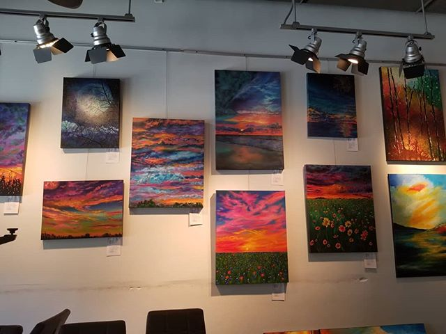 New artwork is up @crumbzz_cakes  the theme is #landscapes stop by and #shoplocal you will not be disappointed with this show! Thank you to all of the artists that participated! @kushalartwork @inspiredbyhimart @amybh.art @david.coffey.art