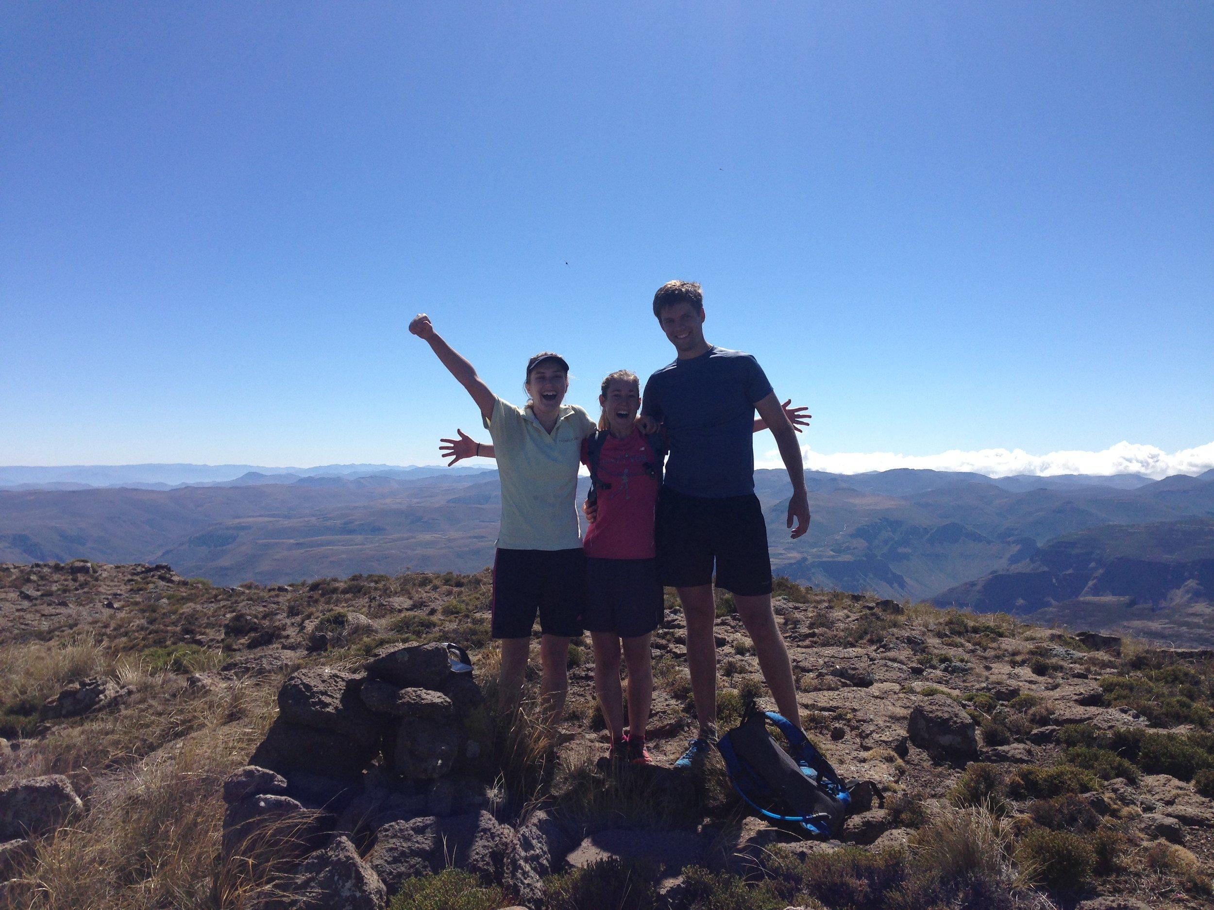 Caro, Tarryn and Morgan on the summit of Thaba Putsoa