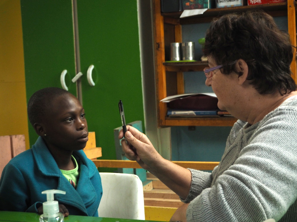Eye exams with Nurse Cathy from Shelley Beach Full Gospel Church.