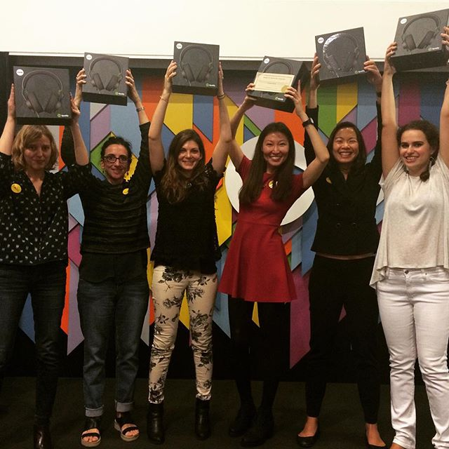 Not only did we survive #shehacksnyc we also managed to win! Thank you @socialmonarq @miss_heidelberg @ayunascode @dfayea for an inspiring weekend. #ladybosses #winning @spotify