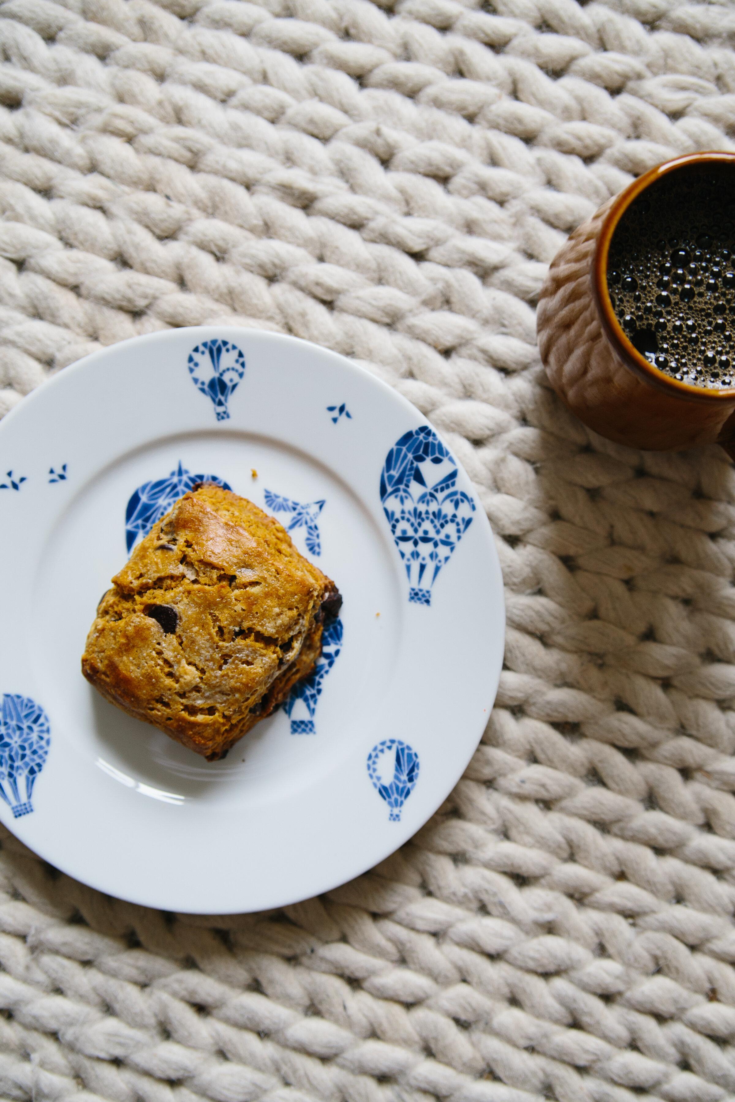 pumpkin chocolate chip scones | maci elise