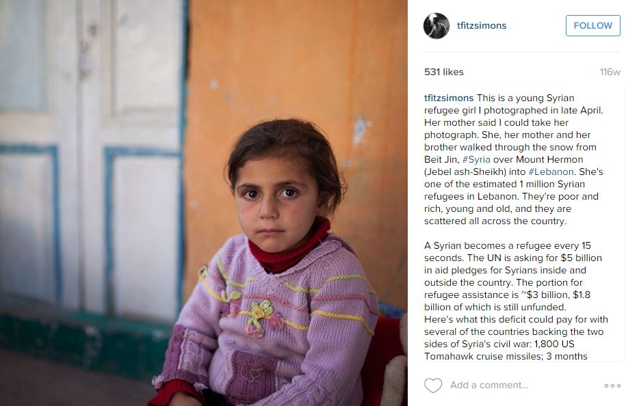 A young Syrian refugee girl photographed by Fitzsimons in Lebanon in an  NPR reporting trip  to Chebaa, Lebanon - February, 2014.