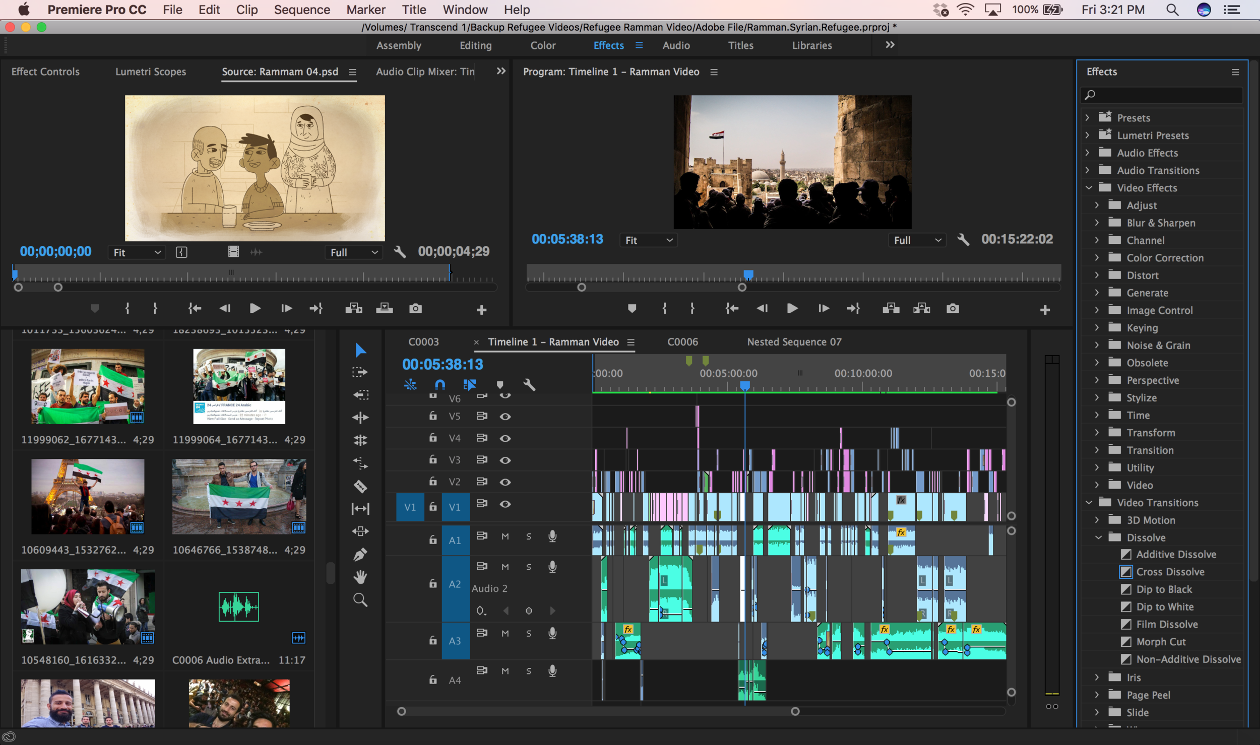 The editing board for my  documentary film  about Ramman, a Syrian refugee.