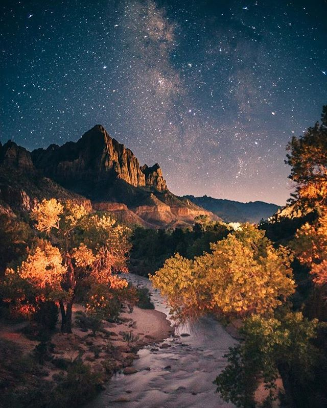 """The stars are the land-marks of the universe."" #skyfullofstars #sky #stars #night #zionnationalpark #us #travel #love #nature #trees #mountain #view #photography #photographer #passion #nightlife #river #milkyway #passion #beauty #beautiful #naturephotography"