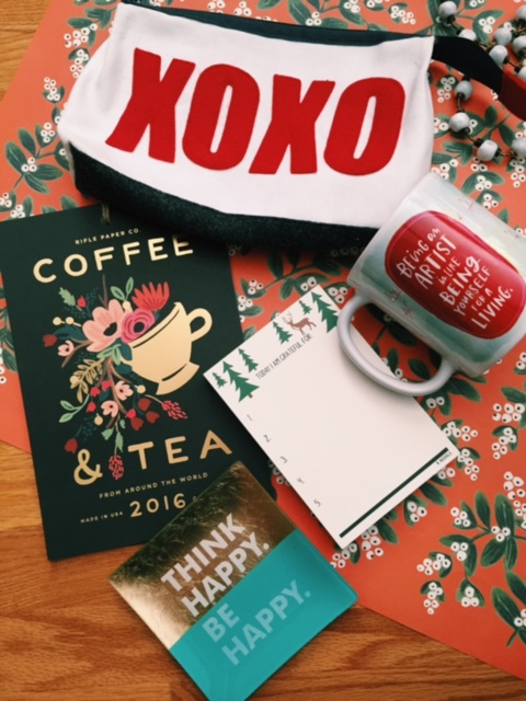 From Top: Cosmetic bag (100% adorable, sustainable and  USA  made), striking coffee and tea 2016 calendar, an inspirational mug to be the envy of the office, a gratitude notepad for daily reminders and a beautiful gold-leaf jewelry tray (other quotes available).