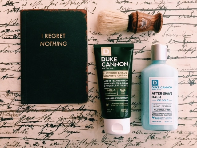 Cheeky journal, Duke Cannon shave supplies, and an Italian shave brush