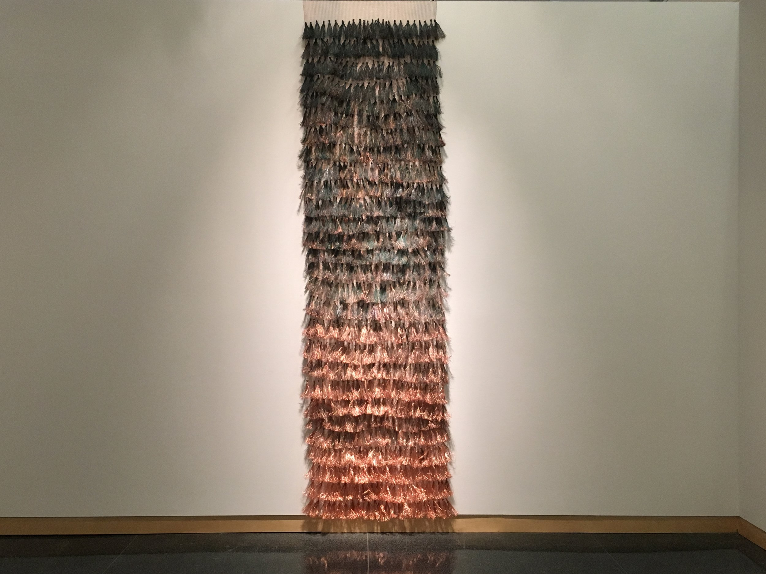 "Hand Woven Copper Wire Variable Dimensions=36"" x 160"" x 6"" Price: $4,000"