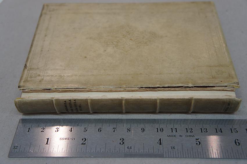 vellum binding, front hinge broken