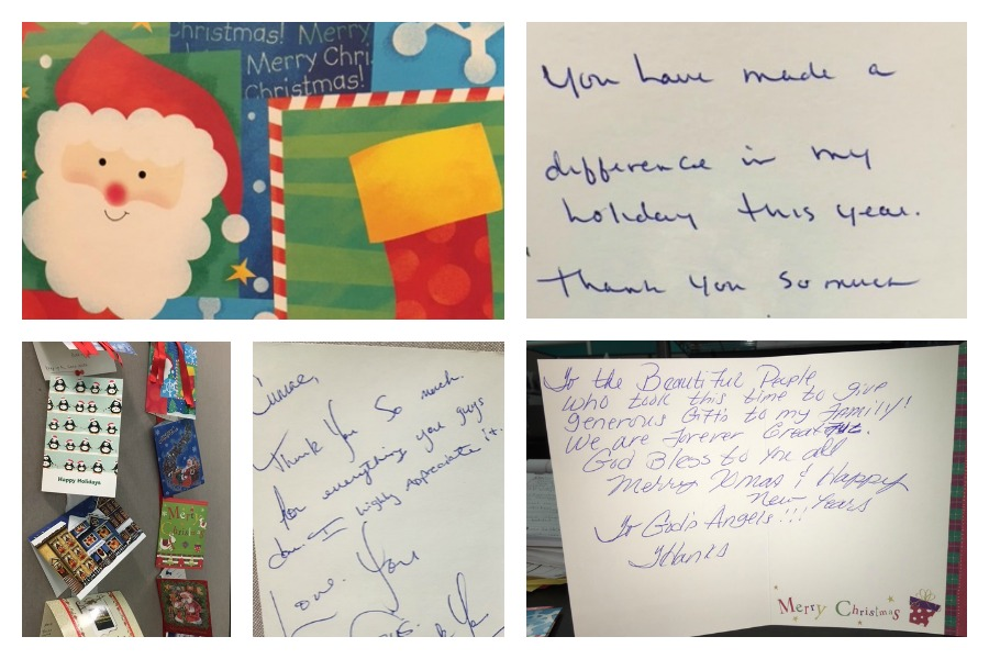 Some of the thank you cards received by cumac this winter
