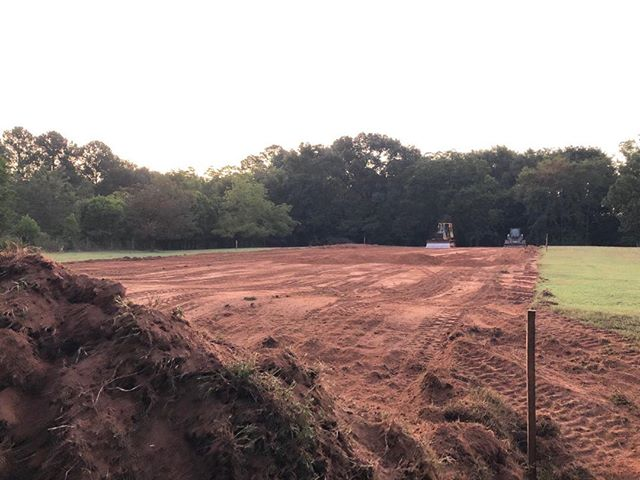 The construction of the dressage court begins.