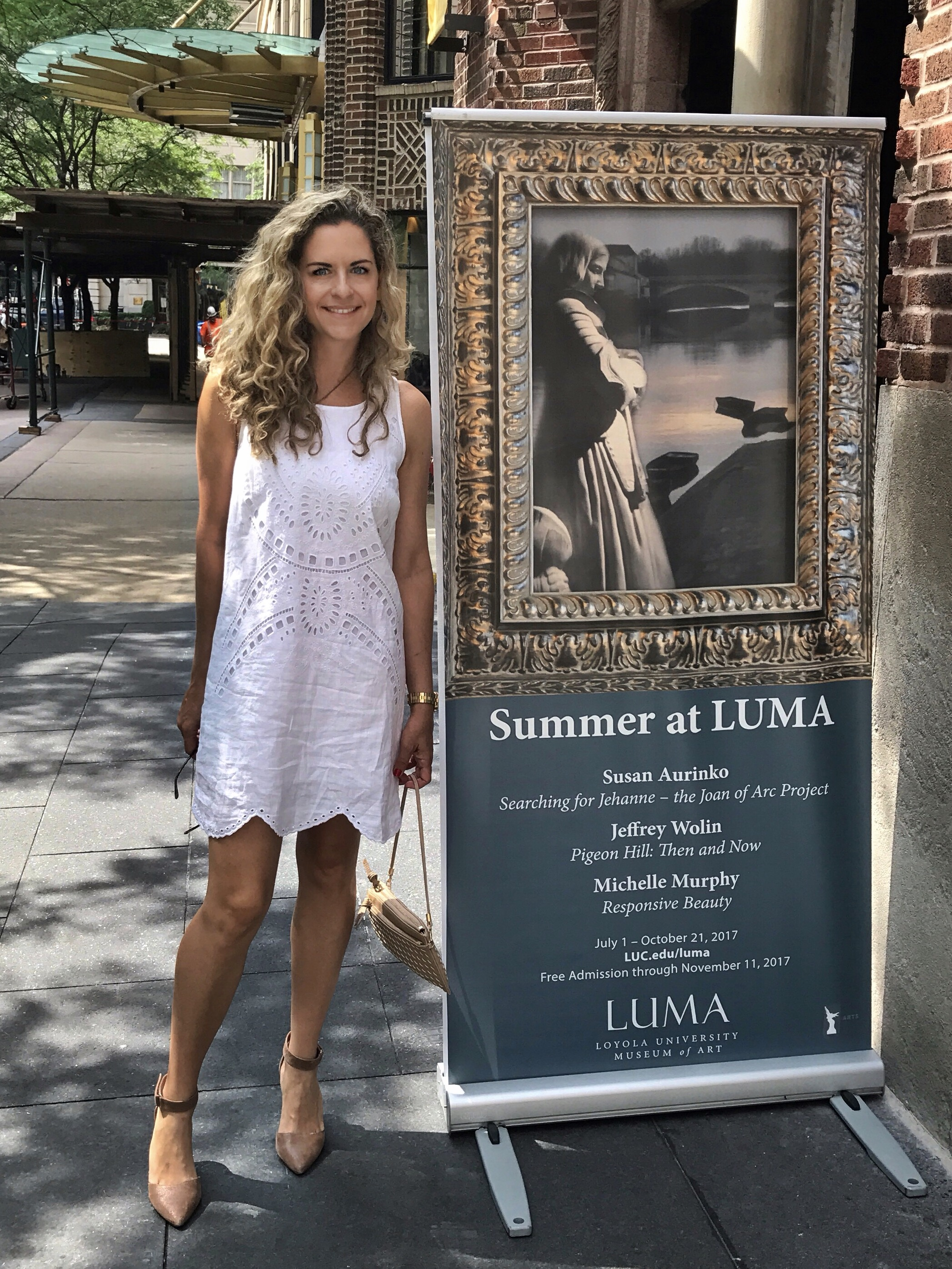 """Standing outside at Loyola University Museum of Art where """"Searching for Jehanne - The Joan of Art Project"""" is on exhibit until Oct 21, 2017."""