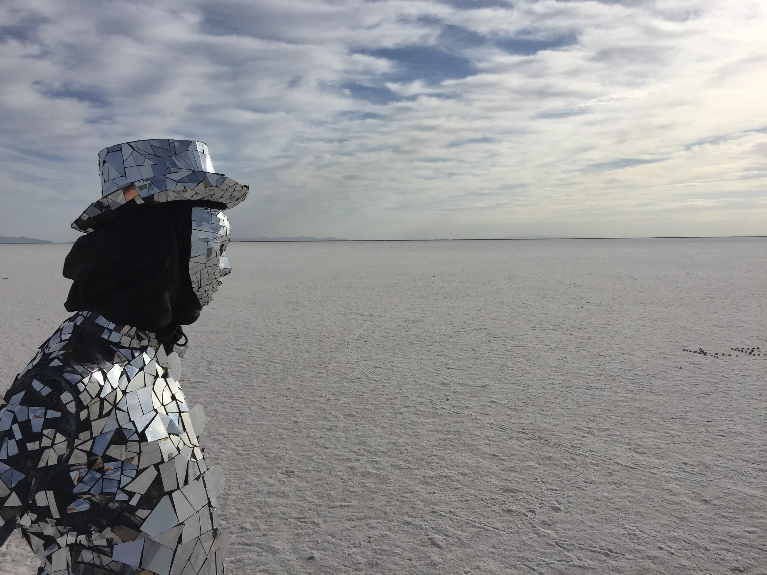 Mirrorman at the Utah Salt Flats - 'Worlds Fastest Mirrorman'.