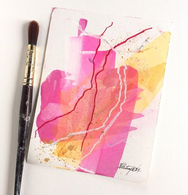 """These pinks & yellows have me like 💓today! Color is my muse some days.  #whitneydesignstudios . . 🔹""""Summer Heat 2""""🔹5x7""""🔹acrylic ink, graphite & pastel on heavy art paper🔹Available now, DM for purchase $40 +s/h . . . . #santacruzartist #santacruzart #colorfulart #thatcolorproject #colorcrush #colorpop #artistunion #livebeautifully #lifestylebloggers #inspiredliving #bedeeplyrooted #flaming_abstracts #womensupportingwomen #whatisee #artistlife #artblog #santabarbarastyle #ratedmodernart #interiorart #ihavethisthingwithcolor  #interiordecorating #homedecorating #interiordesigners #designlovers #abstractartist #contemporaryartist #mywestelm #dtlaartdistrict #sfbayarea"""