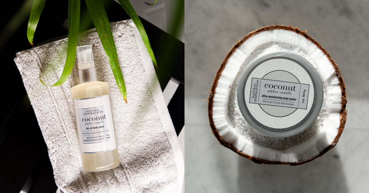 New Scent for Date Night: Coconut Ambre Vanille - Indulge in a seductive blend of creamy Coconut, warm Madagascar Vanilla, and soft Amber. Pure essential oils of Mandarin and Iris meld with the soft undertones of Sandalwood to create an exotic fragrance that is warm, sensual and enticing.
