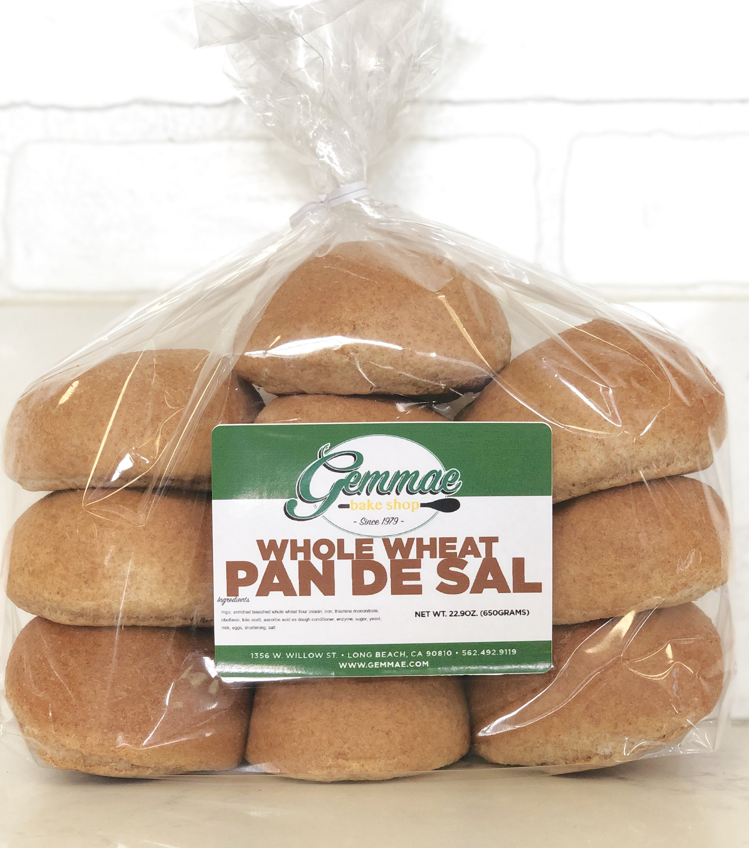 WHOLE WHEAT PAN DE SAL   Our traditional Filipino bread bun made with healthy whole wheat flour. Soft, fluffy, and baked every morning to ensure freshness. Each bag contains 10 bread buns. Best when toasted.