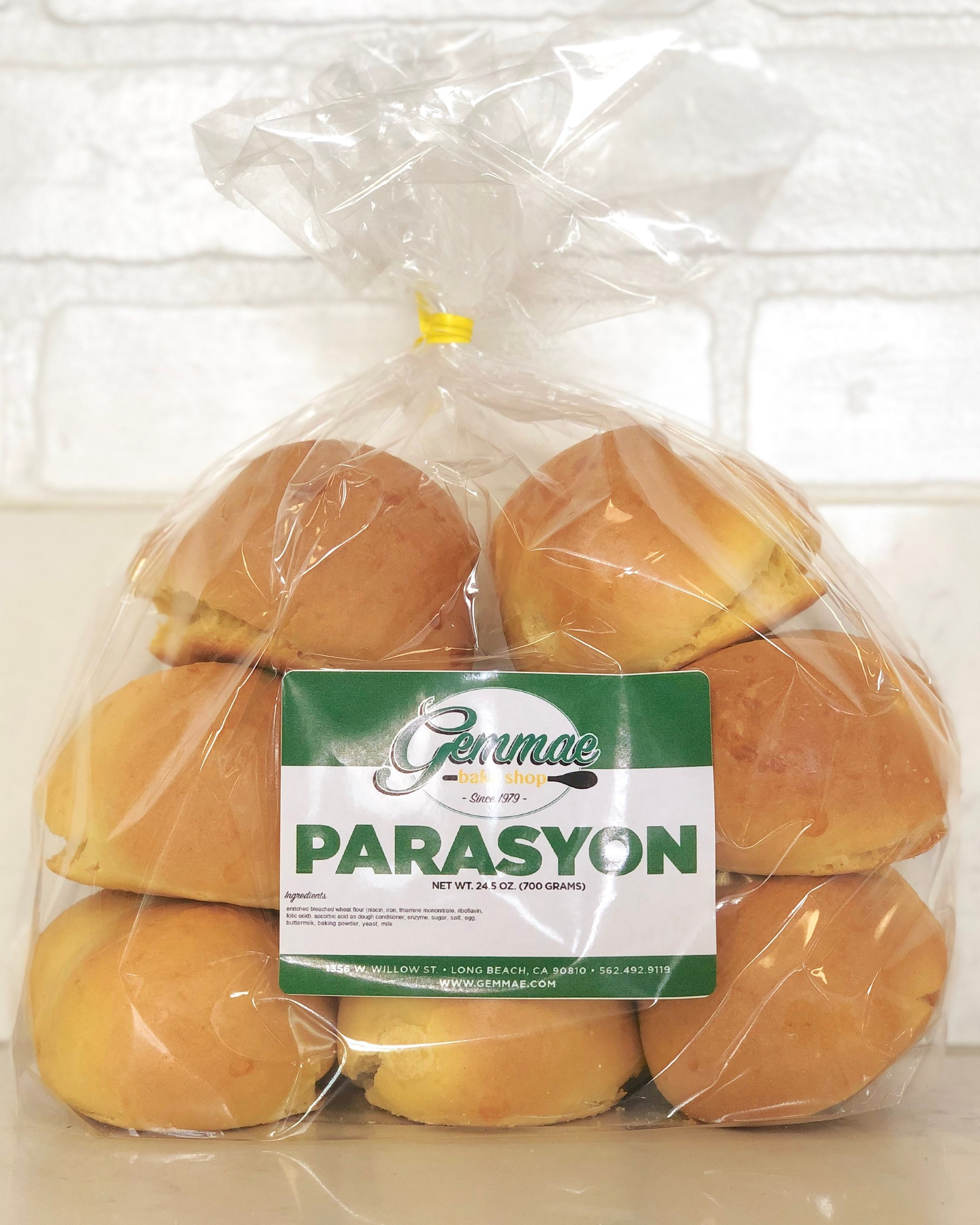 PARASYON   Sweet, dense, buttery bread buns. Each bags contains 8 buns. Best when toasted.