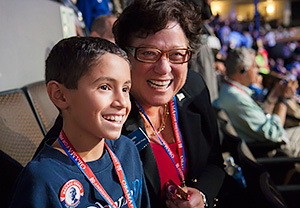 One of Camhi's driving passions was getting future generations involved in the political process, and sharing her optimistic view of politics as a vital way to improve people's lives. She sparked her grandson Alec's lifelong interest in politics in many ways, including when she took him to the 2008 Democratic Convention.