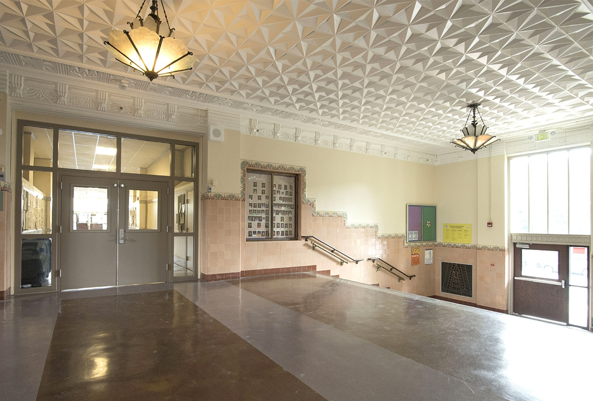 Art Deco entrance lobby to James Lick Middle School, after modernization.