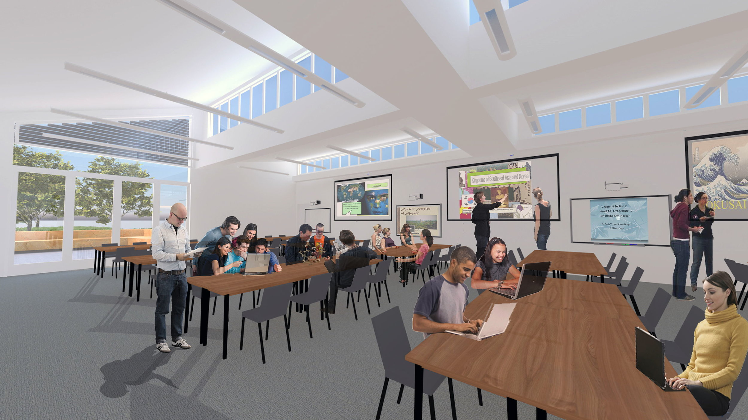 Interior with learning studios joined