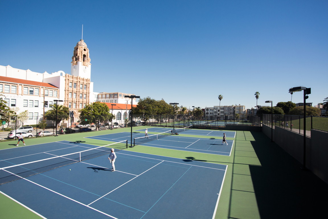 Tennis courts on top of operations building