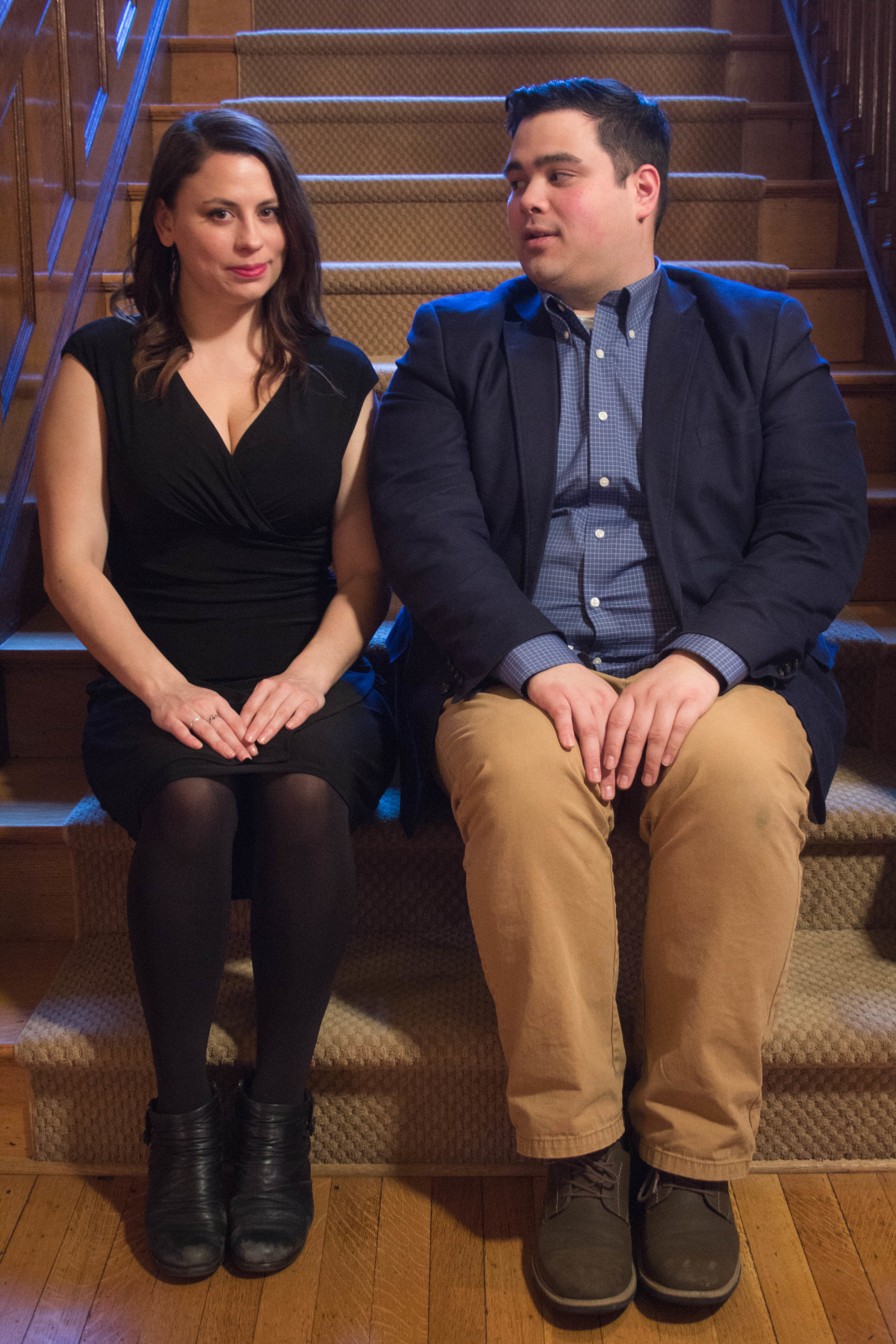 Katie Bicknell and Mario Orallo-Molinaro as Rosencrantz/Guildenstern.