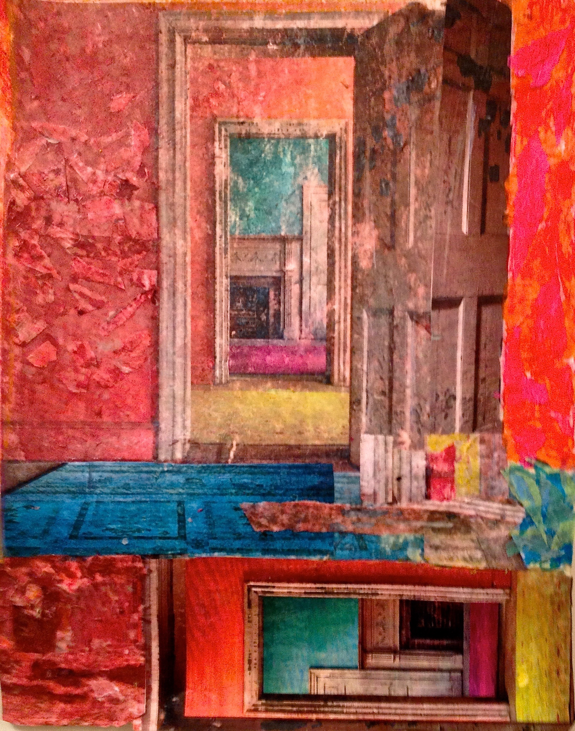 "The Door Within  Spring 2013 Sponged acrylic paint & magazine on paper 18"" x 15"""