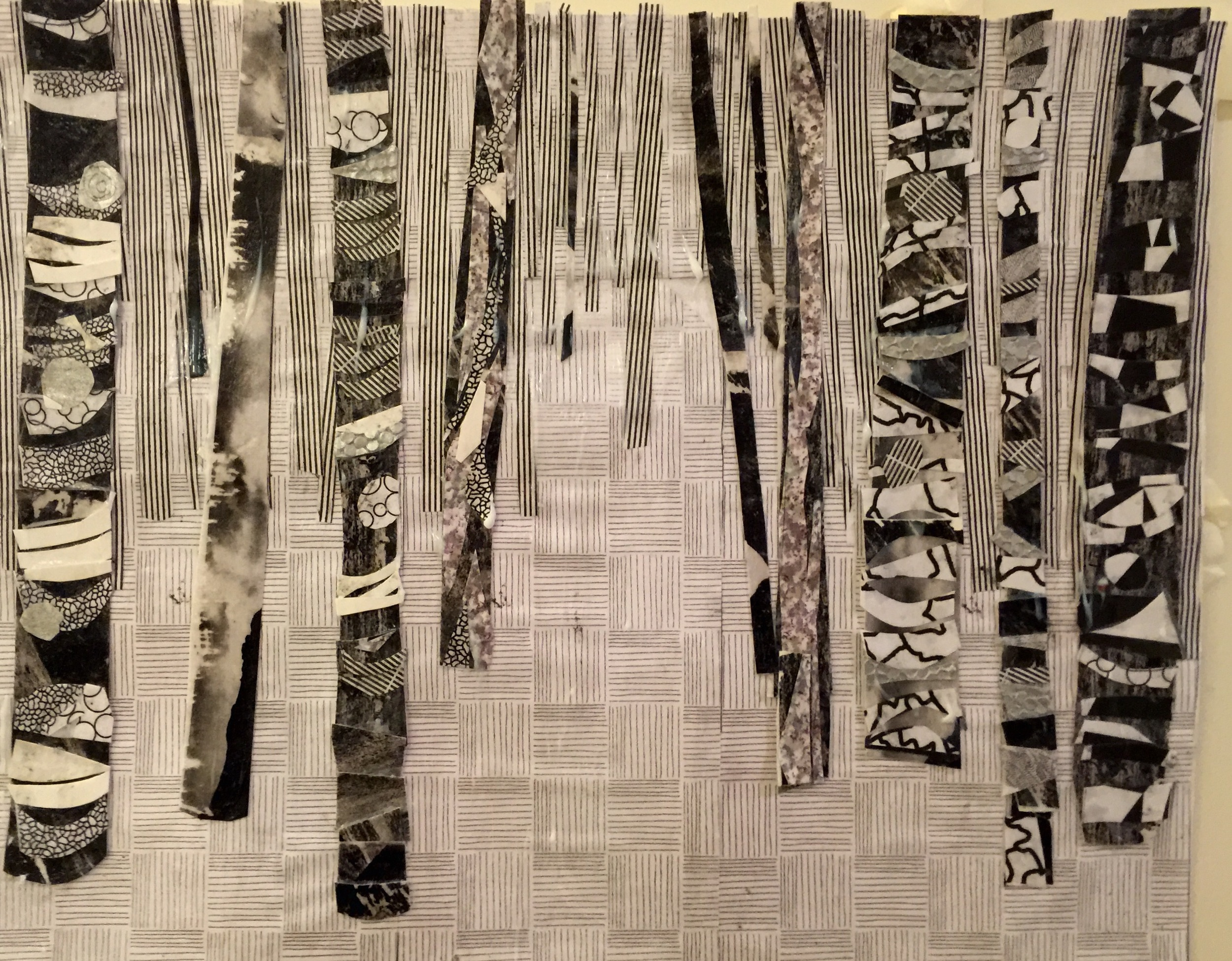 "Envelope Trees  Winter 2015 Cut up homemade paper & envelope linings on paper 14"" x 11"""