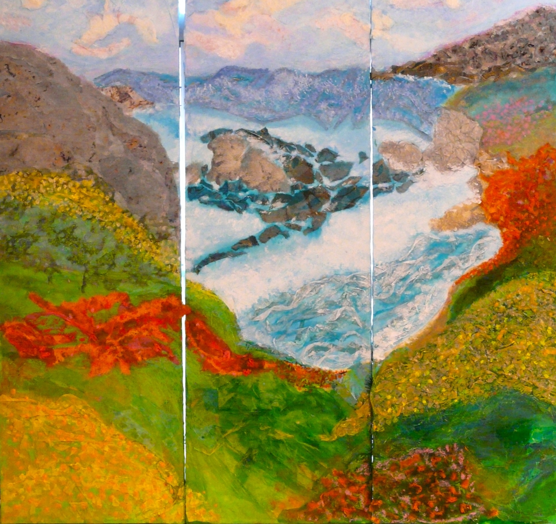 "Big Sur Triptych  2011 Tissue paper, handmade papers, oil crayon, acrylic paint Three canvas panels: 12"" x 36"" x 1"""