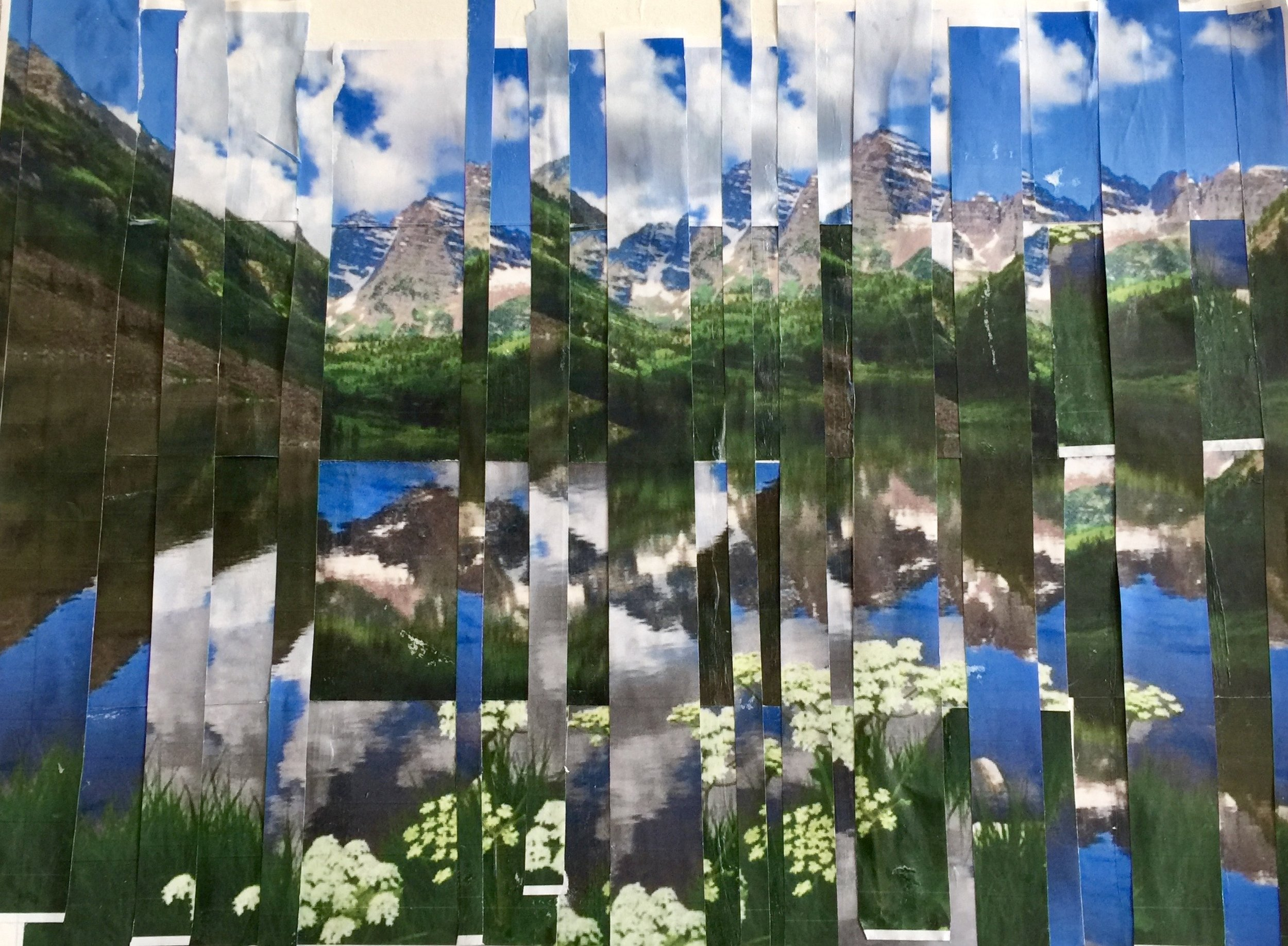 "Maroon Bells   Fall 2016   Two cut up original color photographs    12"" x 16"""
