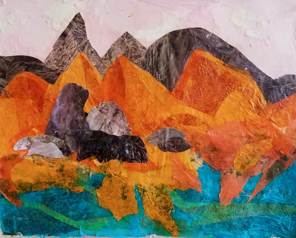 "Orange Mountain Range  2017 Tissue papers & torn up photographs 11"" x 14"""