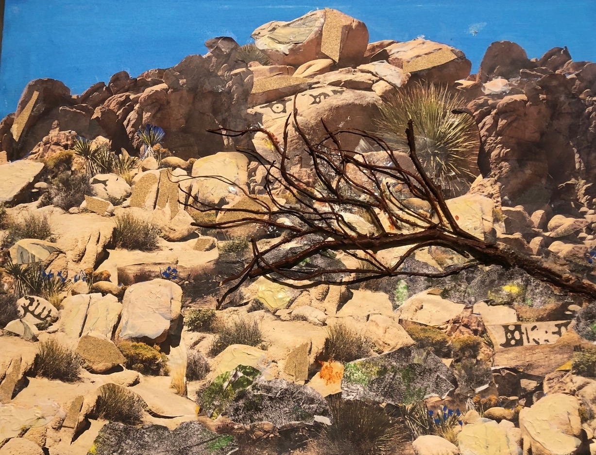 "Black Fallen Tree In the Desert  2018 Cut up original photographs, twigs, water color & paints 18"" x 24"""
